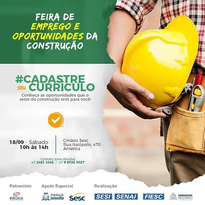 SINDUSCON Joinville realiza 1ª Feira de Emprego da Construção Civil